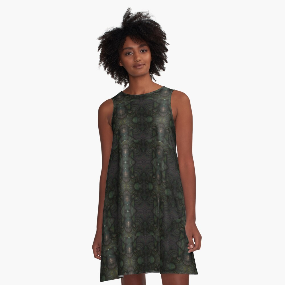 Green and Violet Kaleidoscope A-Line Dress Front