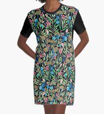 Flower Field Black Graphic T-Shirt Dress