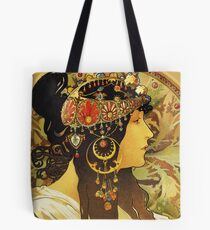 HD Byzantine Heads: Brunette (1897) Mucha T shirts/Pillows/and more Tote Bag