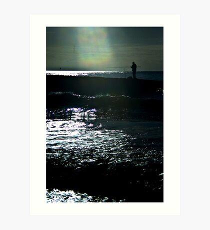 Fisherman Silhouette Art Print