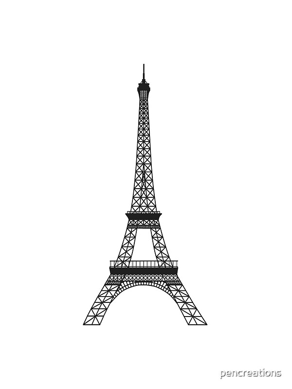 Black and white eiffel tower stickers by pencreations for Eiffel tower wall mural black and white