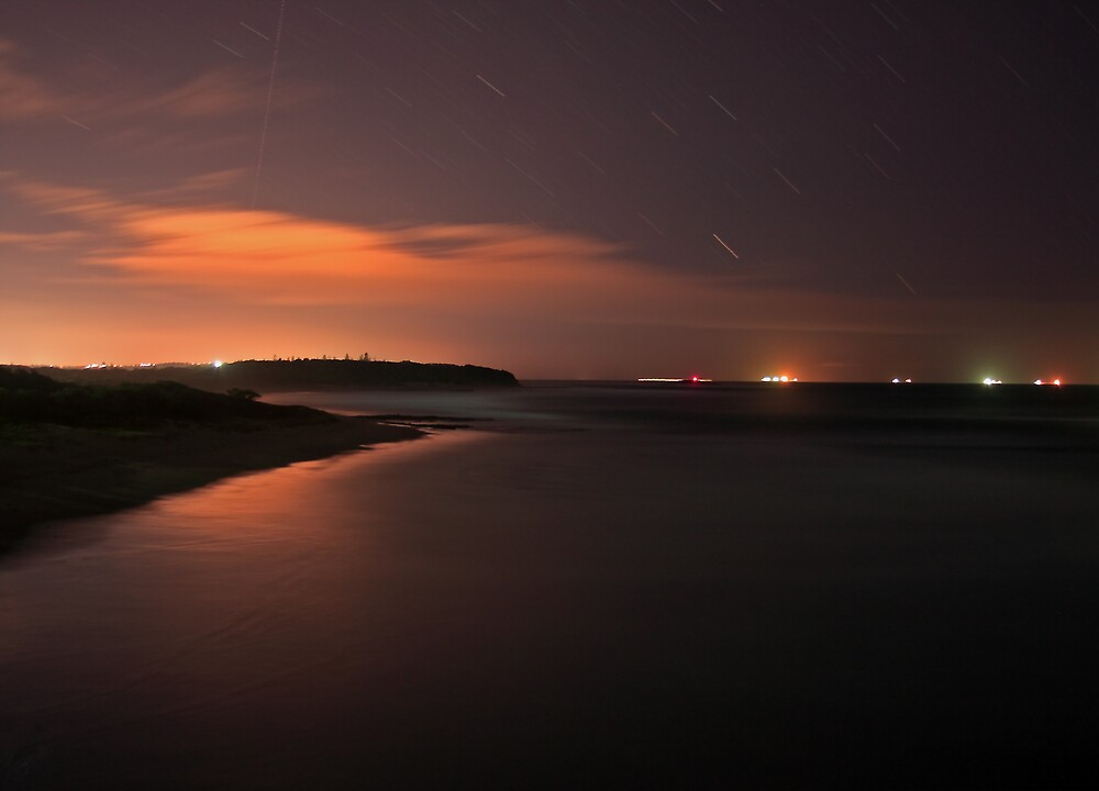 Caves Beach at Night by Steve D