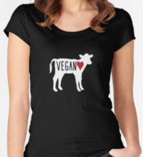 Vegan Cow Heart Women's Fitted Scoop T-Shirt