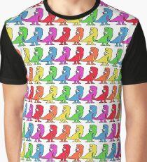 Rainbow T-Rex Pattern Graphic T-Shirt