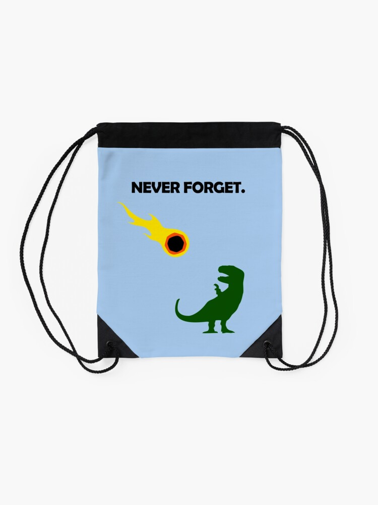 Alternate view of Never Forget (Dinosaurs) Drawstring Bag