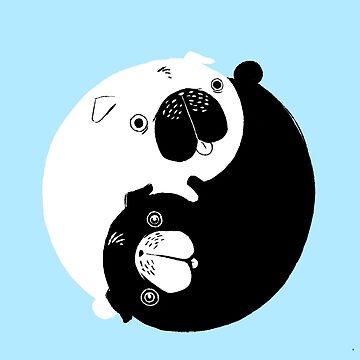 Yin Yang Pugs by AlanBaoArt