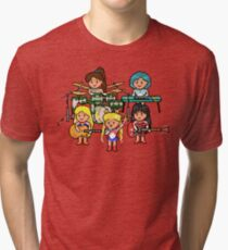 Pixel Scouts - Sailor Scout Rock Band on Stage! Tri-blend T-Shirt