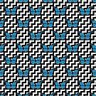 Blue Monarch Butterfly Zigzag Pattern by jezkemp