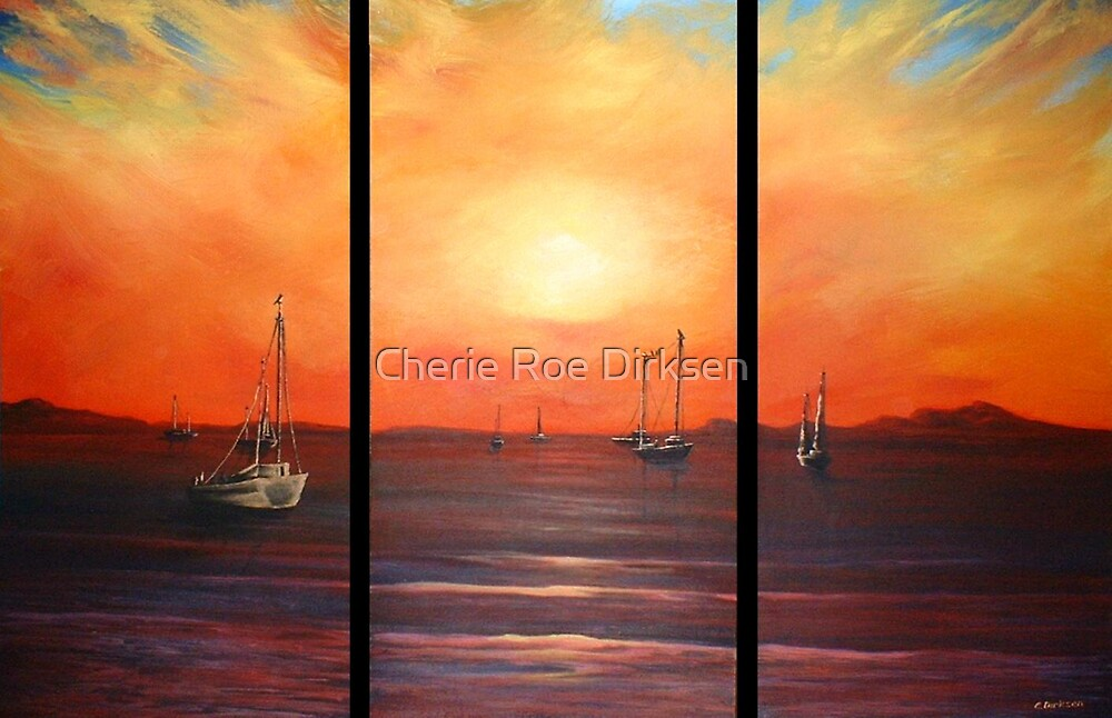 Boats at Sunset by Cherie Roe Dirksen