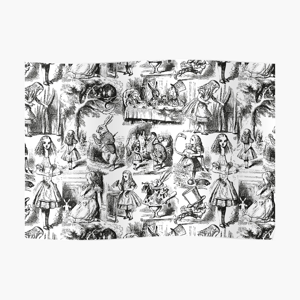 Alice in Wonderland | Toile de Jouy | Toile Pattern | Black and White | Vintage Alice | Poster