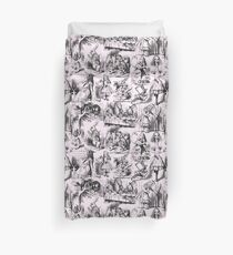 Alice in Wonderland | Toile de Jouy | Pink and Black  Duvet Cover