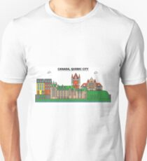 Canada, Quebec City City Skyline Design T-Shirt