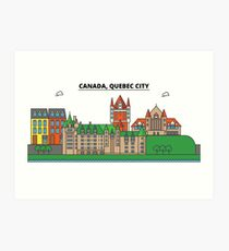Canada, Quebec City City Skyline Design Art Print