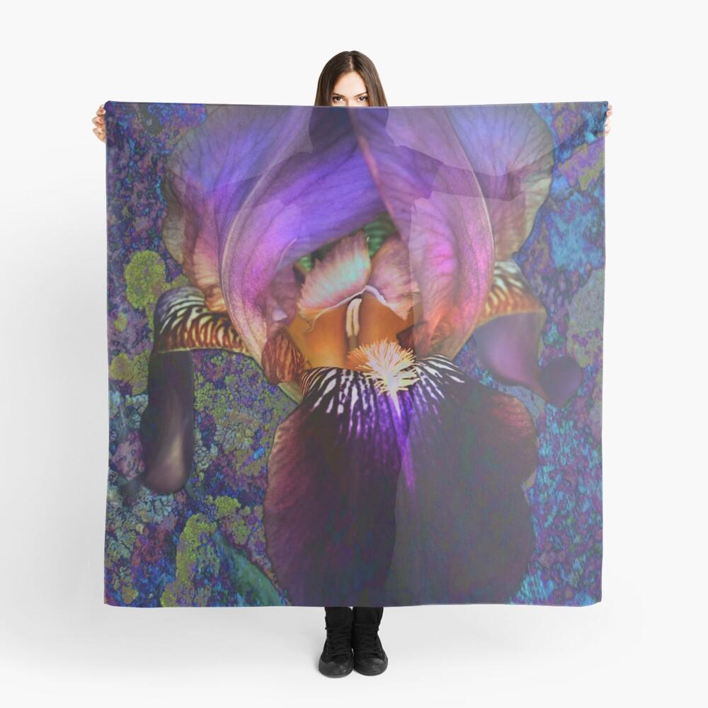 Purple Iris on Moss Scarf