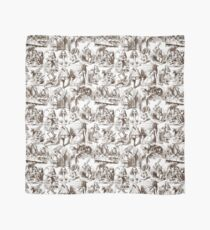 Alice in Wonderland | Toile de Jouy | White and Chocolate Brown Scarf