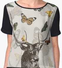 The Stag and Butterflies Chiffon Top