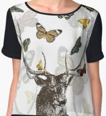 The Stag and Butterflies Women's Chiffon Top