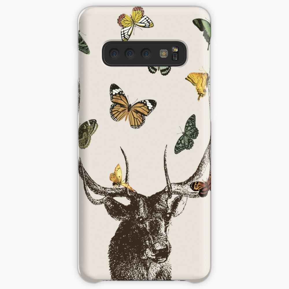 The Stag and Butterflies   Deer and Butterflies   Vintage Stag   Antlers   Woodland   Highland    Samsung Galaxy Snap Case
