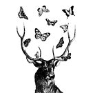The Stag and Butterflies   Deer and Butterflies   Vintage Stag   Antlers   Woodland   Highland   Black and White    by EclecticAtHeART