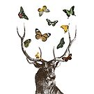The Stag and Butterflies   Deer and Butterflies   Vintage Stag   Antlers   Woodland   Highland    by EclecticAtHeART