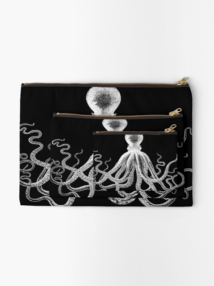 Alternate view of Octopus | Vintage Octopus | Tentacles | Sea Creatures | Nautical | Ocean | Sea | Beach | Black and White |  Zipper Pouch