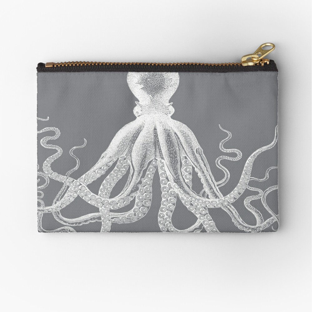 Octopus | Vintage Octopus | Tentacles | Sea Creatures | Nautical | Ocean | Sea | Beach | Grey and White |  Zipper Pouch