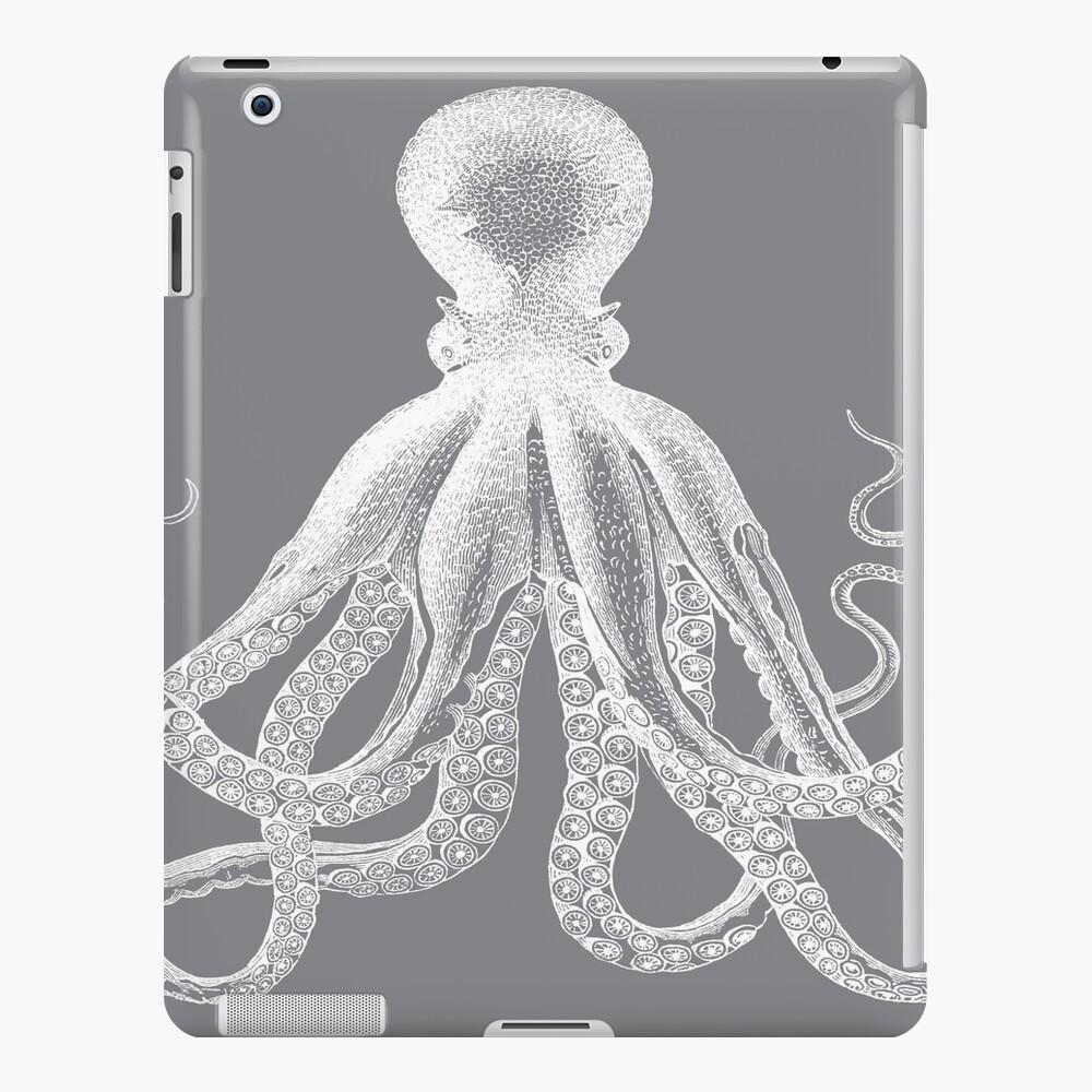 Octopus | Vintage Octopus | Tentacles | Sea Creatures | Nautical | Ocean | Sea | Beach | Grey and White |  iPad Snap Case