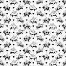 Flying Pigs Pattern   Vintage Pigs   When Pigs Fly   Pigs with Wings   Black and White    by EclecticAtHeART