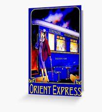 ORIENT EXPRESS: Weinlese-Zug-Passagier-Reise-Druck Grußkarte