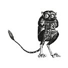Say Cheese!   Tarsier with Vintage Camera   Bellows Camera   Black and White   Anthropomorphic   by EclecticAtHeART