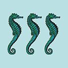 Seahorse Trio   Vintage Seahorses   Three Seahorses   Blue and Green    by EclecticAtHeART