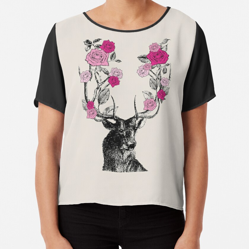 The Stag and Roses   Deer and Roses   Stag and Flowers   Deer and Flowers   Vintage Stag   Antlers   Woodland   Highland   Pink and Beige    Chiffon Top
