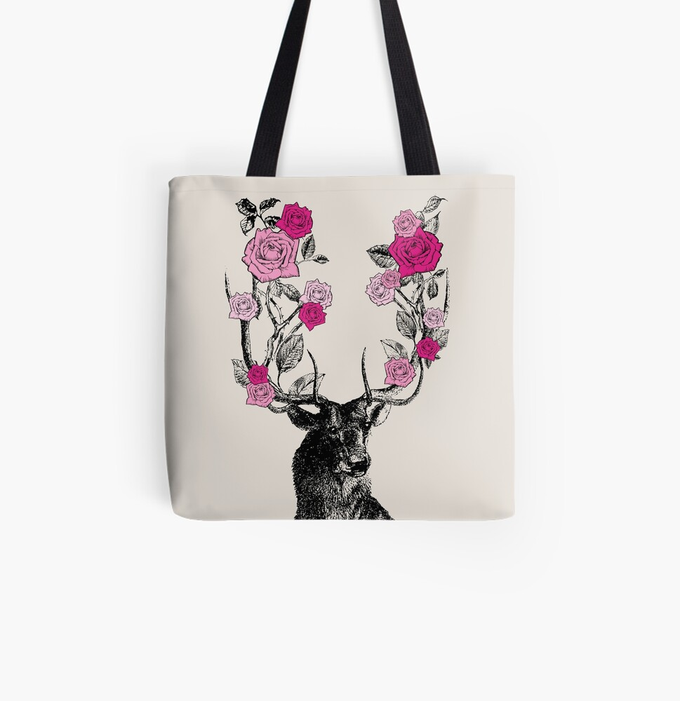 The Stag and Roses   Deer and Roses   Stag and Flowers   Deer and Flowers   Vintage Stag   Antlers   Woodland   Highland   Pink and Beige    All Over Print Tote Bag