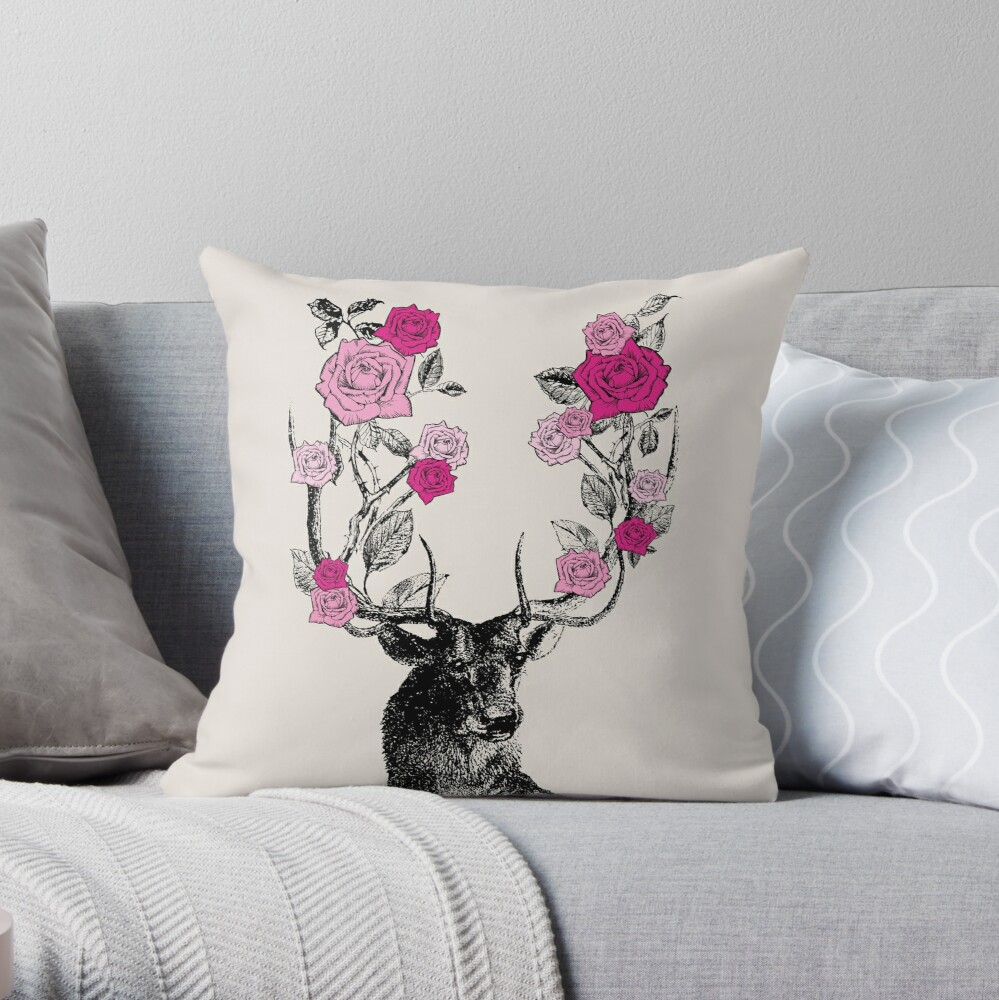 The Stag and Roses | Deer and Roses | Stag and Flowers | Deer and Flowers | Vintage Stag | Antlers | Woodland | Highland | Pink and Beige |  Throw Pillow