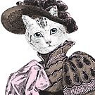 Pussycat Portrait   No. 2 of 2 from The Owl and the Pussycat Set   Anthropomorphic Cat   Vintage Cats    by EclecticAtHeART