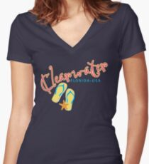 Clearwater Florida Women's Fitted V-Neck T-Shirt