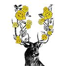 The Stag and Roses   Deer and Roses   Stag and Flowers   Deer and Flowers   Vintage Stag   Antlers   Woodland   Highland   Yellow   by EclecticAtHeART
