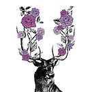 The Stag and Roses   Deer and Roses   Stag and Flowers   Deer and Flowers   Vintage Stag   Antlers   Woodland   Highland   Purple    by EclecticAtHeART