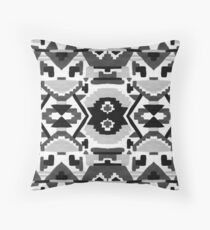 Black and White Aztec Pattern Throw Pillow
