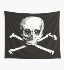 Skull and Crossbones | Black and White Wall Tapestry