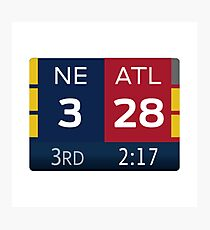Patriots 28-3 Super Bowl Scoreboard Photographic Print