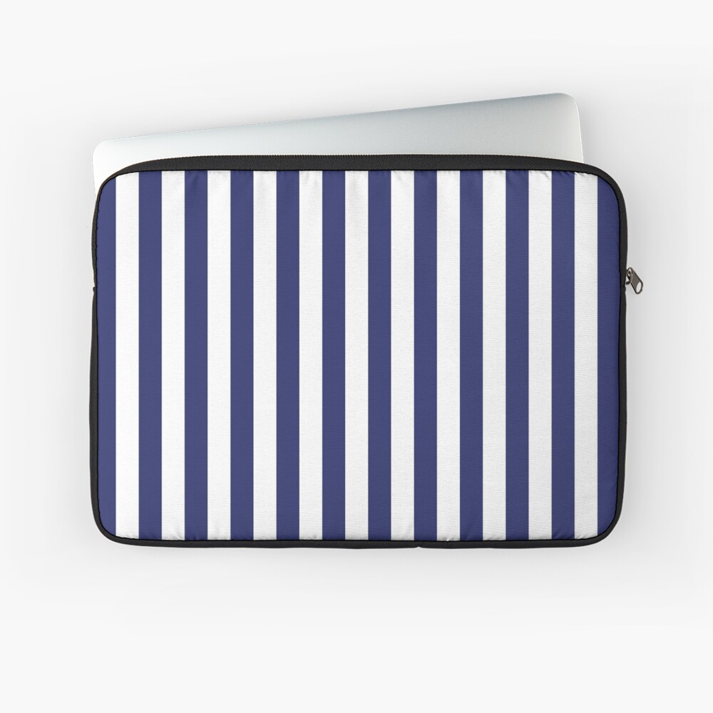 Navy Blue and White Stripes | Stripe Patterns | Striped Patterns | Laptop Sleeve