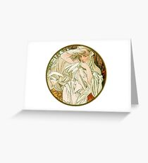 March - from Calendar (1889) by Alphonse Mucha Greeting Card