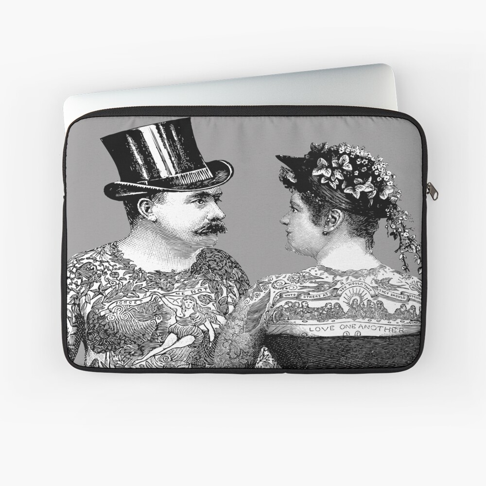 Tattooed Victorian Lovers | Tattooed Couple | Victorian Tattoos | Vintage Tattoos | Tattoo Art |  Laptop Sleeve