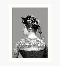 Tattooed Victorian Woman Art Print