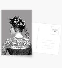 Tattooed Victorian Woman Postcards