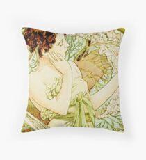 April from  Calendar (1889)  by Alphonse Mucha Throw Pillow