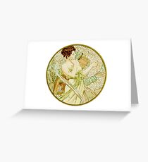 April from  Calendar (1889)  by Alphonse Mucha Greeting Card