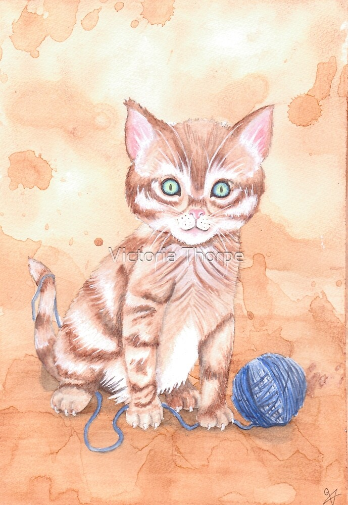 Kitten With Yarn by Victoria Thorpe