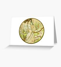 May from the 1889 Calendar by Alphonse Mucha Greeting Card